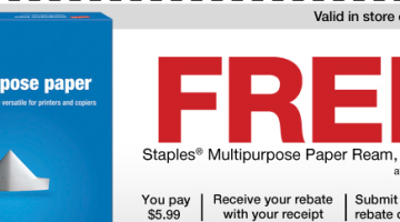 FREE Paper At Staples