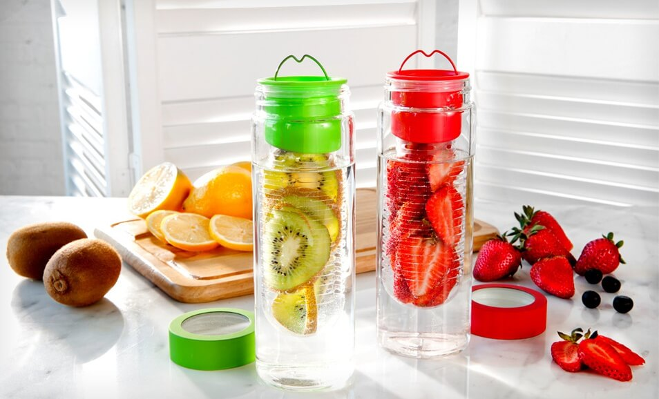 Fruit infuser bottles water bottle with infuser infused water bottle - 2 Pack Of Flavour It Fruit Infuser Glass Water Bottles For