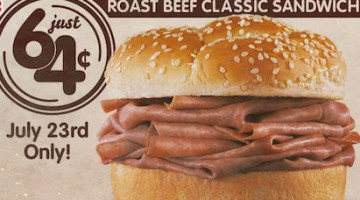 Arby's: Roast Beef Classic Sandwich Only $0.64 (7/23 only)