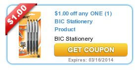 image about Bic Printable Coupons named $1/1 Bic Printable Coupon \u003d Totally free White Out and Pens at Walmart