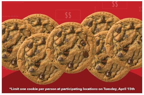 Great American Cookie Co Free Chocolate Chip Cookie All Day Long