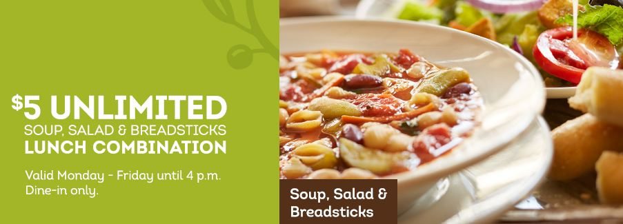 Olive Garden: Unlimited Lunch Combo ONLY $5Olive Garden: Unlimited Lunch Combo ONLY $5