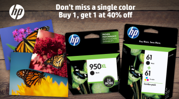 Buy One HP Ink, Get Second One for 40% Off Regular Price