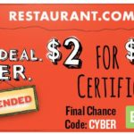 *HOT* $25.00 Restaurant.com Certificate Only $2.00