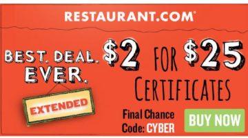 *HOT* $25.00 Restaurant.com Certificate Only $2.00