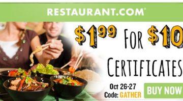 *HOT* $10 Restaurant.com Certificate Only $1.99