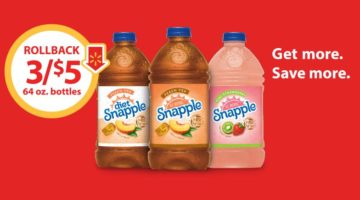 Stock Up on Snapple 64 Oz. Peach, Diet Peach, and Kiwi Strawberry- Buy 3/$5 on Rollback at Walmart