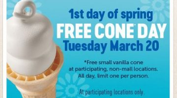 FREE Cone Day at Dairy Queen on March 20, 2018