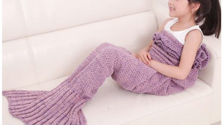 Kids Knitted Mermaid Blanket 43% Off Regular Price