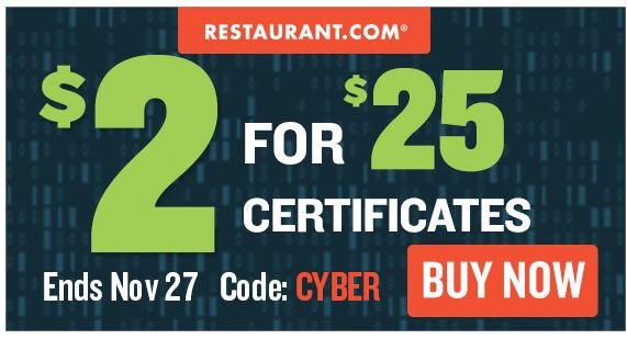 *HOT* $25 Restaurant.com Gift Certificate Only $2.00