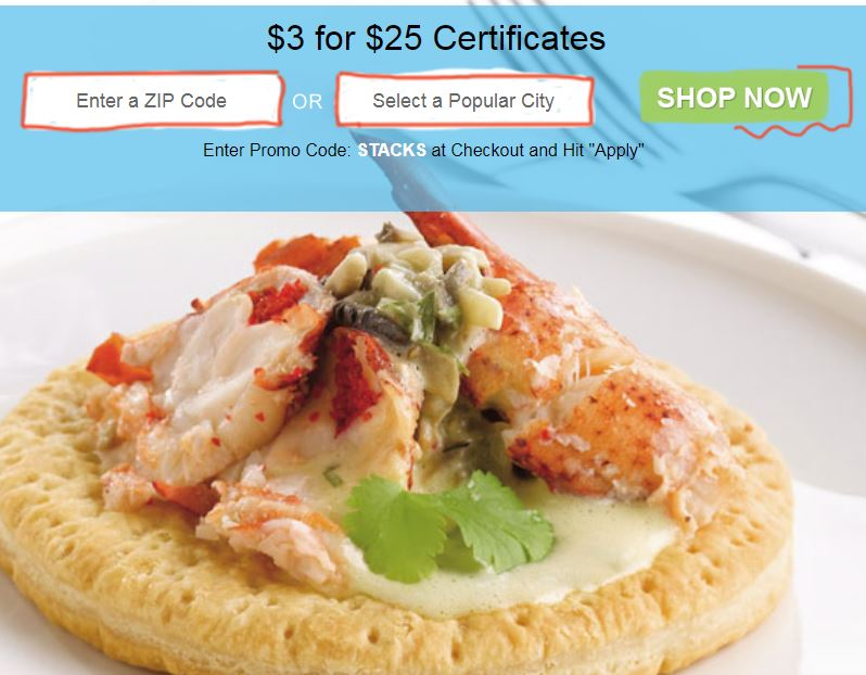 *HOT* $25 Restaurant.com Gift Certificate Only $3.00