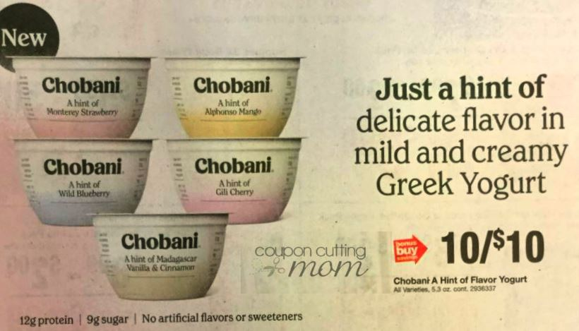 FREE Chobani A Hint of Flavor Yogurt With Printable Coupon