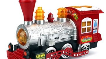 Steam Train Locomotive Engine Car Bubble Blowing Bump & Go Battery Operated Toy Train w/ Lights & Sounds Only $14.95