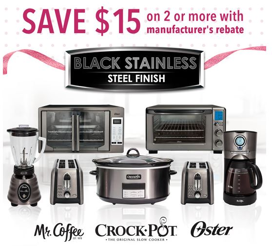 Save $15 on Black Stainless Steel Items from Oster, Crock-Pot, and Mr. Coffee