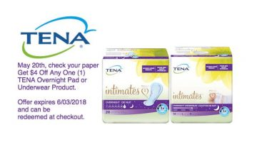 Save on TENA® Overnight Pad or Underwear Products With This $4 Coupon