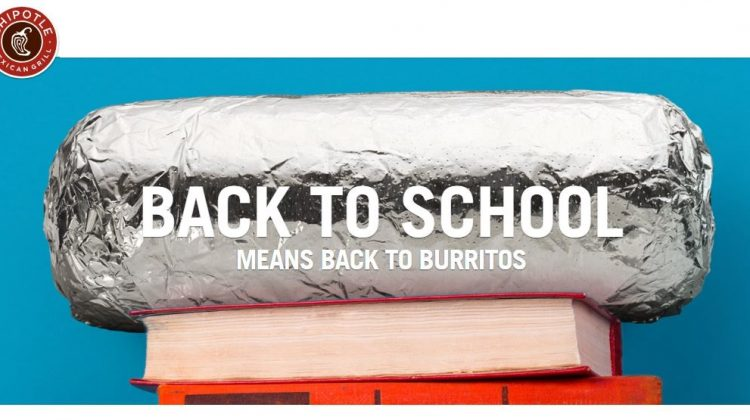 FREE Chipotle For Back to School Kids on August 18, 2018
