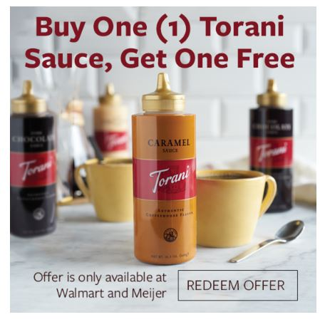 Buy One Get One FREE Torani Sauce Offer
