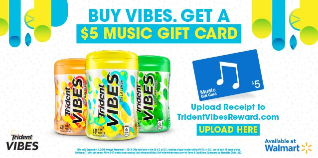 Purchase Trident VIBES® Gum and Score a Free $5 iTunes Gift Card