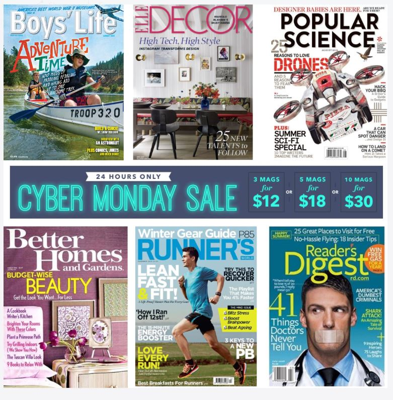 Cyber Monday Sale - Discount Mags: 3 Magazine Subscriptions for $12
