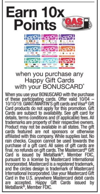 Giant: Happy Gift Cards $125.00 Moneymaker