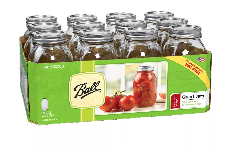 Ball Quart Canning Jars 12-Pack ONLY $3.49 (Reg. Price $9.49)
