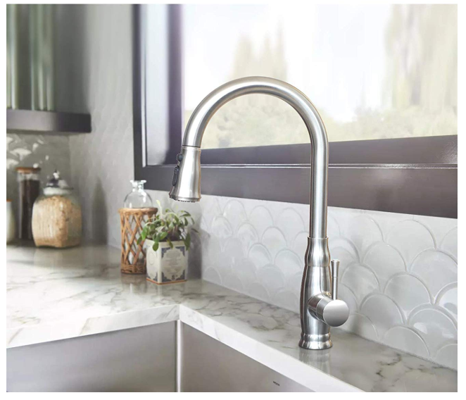Stainless Steel Kitchen Faucet with Pull Down Sprayer Only $53.99 - Regular Price 119.99